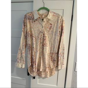 Free People Floral Button-down long shirt/tunic